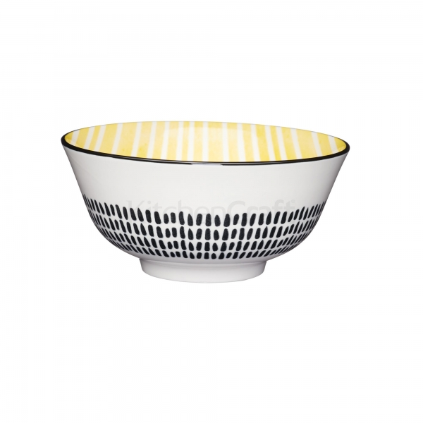 KitchenCraft a bowl in one Yellow stripe μπολ 15.5cm/7.5cm